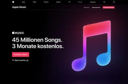 45 Millionen Songs, eine kostenlose Testphase von drei Monaten und nun weltweit mehr als 50 Millionen Nutzer: Apple liegt mit seinem Streamingdienst Apple Music weiter auf Wachstumskurs (Bild: apple.com/de/apple-music, Screenshot)