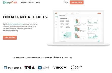 Analysiert Daten des Publikums, um die Werbung für Veranstaltungen zu opitimieren: Stagelink (Bild: Screenshot, stagelink.com)