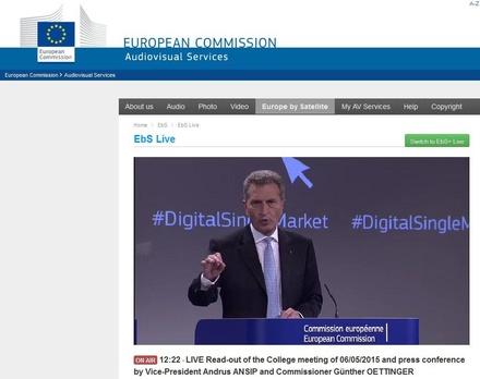 Bei der Präsentation ihrer europäischen Strategie für den digitalen Binnenmarkt: EU-Digitalkommissar Günther Oettinger ... (Bild: ec.europa.eu/avservices, Screenshot)