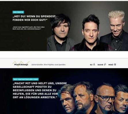 Beispiele für Engagement für soziale Projekte via Musik Bewegt: Die Ärzte und Die Fantastischen Vier mit Screenshots ihrer Botschaften auf www.musik-bewegt.de (Bild: Musik Bewegt/Screenshot)