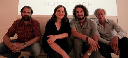 Bilden den Vorstand des neu gegründeten Verbands (von links): Johannes von Jena (Schatzmeister), Claudia Schwarz (Vize-Präsidentin), Matthias Strobel (Präsident) und Steffen Holly (Vorstandsmitglied) (Bild: MusicTech Germany)