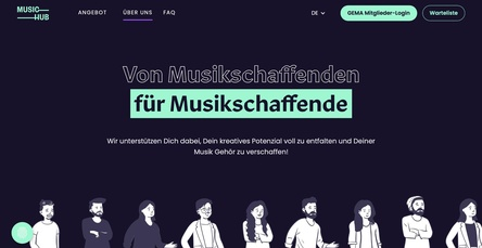 Bildet die neue digitale Anlaufstelle für Musikschaffende: das GEMA-Tochterunternehmen MusicHub (Bild: Screenshot, music-hub.com)