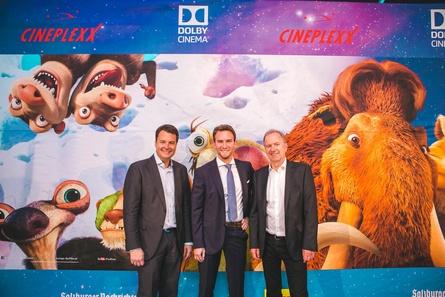 Die Cineplexx-Führungsriege bei der Eröffnung: Christian Langhammer, sein Sohn Lucas Langhammer und Christof Papousek (v.r.) (Bild: Foto: Colin Cyruz)