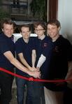 Die vier GameOn-Gründer bei der Eröffnung des Projektoffice (Bild: Albert Altheimer, GameOn)