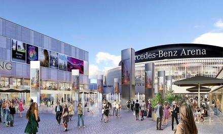 Ein Entwurf des künftigen Mercedes Platzes mit dem kommenden UCI-Multiplex (Bild: Anschutz Entertainment Group)