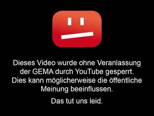 """Karikiert die bekannten """"GEMA-Sperrtafeln"""" von YouTube: eine etwas andere Sperrtafel der Verwertungsgesellschaft (Bild: GEMA)"""