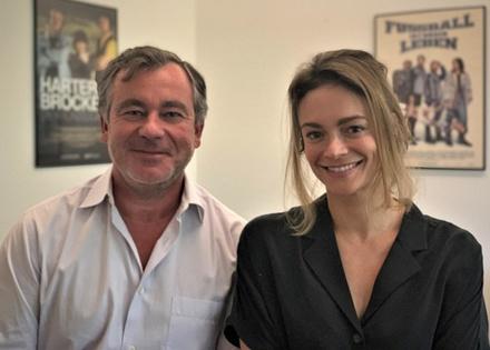 Mischa Hofmann, Vorstand der Odeon Film AG sowie Gründer und Geschäftsführer des Tochterunternehmens H & V Entertainment; Britta Meyermann, Head of International Co-Production der Odeon Film AG (Bild: H & V Entertainment)