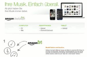 Nun auch in Deutschland verfügbar: Der Amazon Cloud Player (Bild: Screenshot: Amazon.de)