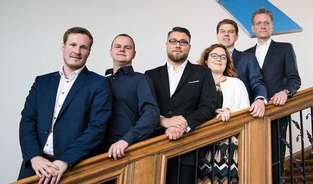 Präsidium und Justiziarin (v.l.): Niklas Timmermann, Martin Müller, Hans Jagnow, Anna Baumann, Dr. Fabian Laugwitz und Jan Pommer (Bild: Maria Manneck/ESBD)