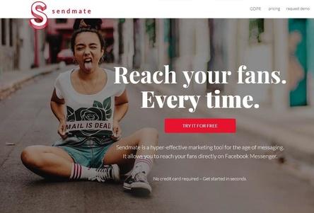 Sorgt für erstaunliche Resultate im Direct-To-Fan Marketing über den Facebook Messenger: das vom RecordBird-Team entwickelte Sendmate-Tool (Bild: sendmate.io, Screenshot)