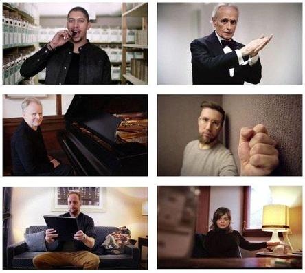 Unterstützen Musik Bewegt im neuen Videoclip (von oben links nach unten rechts): Andreas Bourani, José Carreras, Herbert Grönemeyer, Prinz Pi, Smudo und Annett Louisan (Bild: Musik Bewegt)