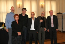 Oliver Castendyk, Christiane von Wahlert, Johannes Rexin, Christian Bräuer, Thomas Matlok, Peter Dinges (v.l.n.r.) auf der Filmkunstmesse Leipzig