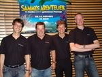 Die Kinowelt-Gastgeber in Leipzig (v.l.): Sönke Hinrichsen (Vertriebsleiter Sell Thru), Hans Wenzke (Vertriebsleiter Rental), Jan Rickers (GF KHE) und Kalle Friz (EVP Kinowelt Filmverleih)