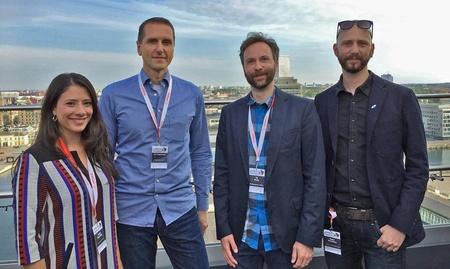 V.l.: Denise Beyschlag (media:net Berlin Brandenburg), Jan Lingemann (Mediennetzwerk.NRW) und Till Hardy (Film- und Medienstiftung NRW) sowie Robin Hartmann (Games.Bavaria)