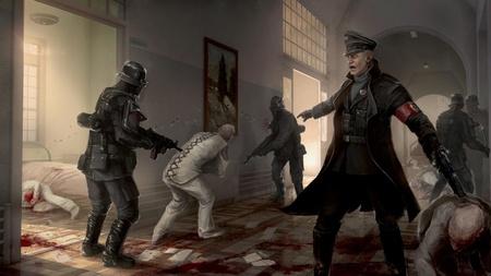 """Konzeptzeichnung für """"Wolfenstein: The New Order"""" (2014), das für den deutschen Markt auch angepasst wurde."""