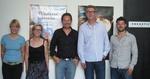 Vereinbarten Vertriebskooperation (v.l.): Annina Zuberbühler (moviemento), Monika Weibel (Frenetic Films), Victor Waldburger (TBA), Daniel Treichler (Frenetic Films) und Oli Keller (TBA)