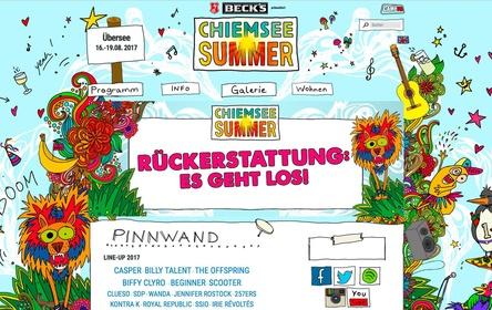Aktuell auf der Festival-Homepage: Hinweis auf die Rückerstattungsaktion (Bild: Screenshot chiemsee-summer.de)