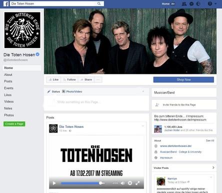 An Tagen wie diesen: Die Toten Hosen machen ihren Katalog über Streamingdienste verfügbar und machen den Schritt unter anderem mit einem Videoclip auf ihrer Facebook-Seite bekannt (Bild: facebook.com/dietotenhosen, Screenshot)