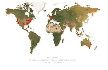 Auch Berlin schafft es mit auf die Weltkarte von Kanye West: Bravado eröffnet für wenige Tage ab dem 21. August weltweit an 21 Standorten sogenannte Pop-up-Stores mit Merchandising-Produkten des Rappers (Bild: www.kanyewest.com/temporarystores, Screenshot)