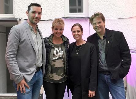 Beim Songwritercamp in Berlin (von links): Alexander Schedler (Schedler Musikverlage), Kirsten Meisel (Meisel/Hansa), Ina Wiens (Meisel) und Marcus Zander (Zett/Meisel) (Bild: Meisel Musikverlage)