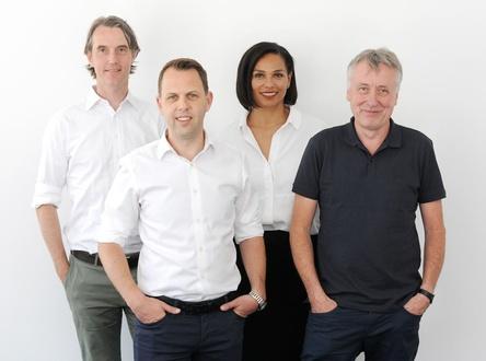 Bilden das neu formierte Geschäftsführungsteam von BMG (von links): CFO Maximilian Dressendörfer, COO Ben Katovsky, Ama Walton (Global General Counsel und Chief Human Resources Officer) und CEO Hartwig Masuch (Bild: Barbara Dietl)