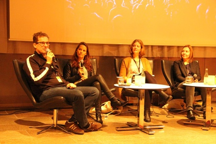 Diskutierten �ber Nachhaltigkeit (von links): Holger Jan Schmidt (GO Group), Anne Jensen (Northside Festival), Linn�a Svensson (Greener Events Foundation) und Teresa Moore (Buckinghamshire New University) (Bild: MusikWoche)