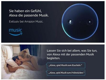 Ein Sprachbefehl sorgt für die passende Musik: Amazon Music (Bild: Screenshot, Amazon.de)
