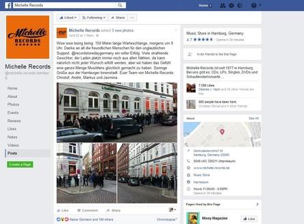 Eine Warteschlange von bis zu 150 Metern Länge: das Team von Michelle Records erlebte in Hamburg den bislang besten Record Store Day (Bild: facebook.com/michelle.records.hamburg, Screenshot)