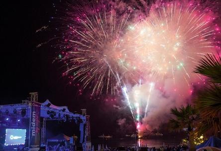 Festtagstimmung: Zum 50. Jubiläum der Midem gab es 2016 ein Feuerwerk (Bild: Midem)