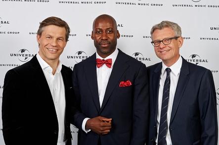 Führen die Partnerschaft bei Airforce1 Records langfristig fort und erweitern Zusammenarbeit (von links): Frank Briegmann, Joe Chialo und Jörg Hellwig (Bild: Stefan Höderath/Universal Music)