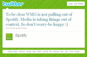 Fürchtet euch nicht: Spotify-Post (Bild: Twitter-Screenshot)