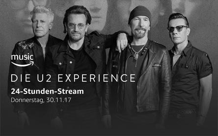 """Gehen am 30. November und somit 24 Stunden vor der Veröffentlichung ihres Albums """"Songs Of Experience"""" bei Amazon auf Dauerwerbesendung: U2 (Bild: Amazon)"""