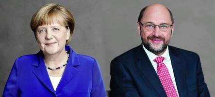 Haben sich mit ihren Mitstreitern in Berlin auf ein Papier verständigt, das als Basis für eine Neuauflage der Großen Koalition dienen kann: die Vorsitzende Bundeskanzlerin Angela Merkel (CDU) und der SPD-Parteivorsitzende Martin Schulz (Bild: CDU/Laurence Chaperon; SPD/Benno Kraehahn)