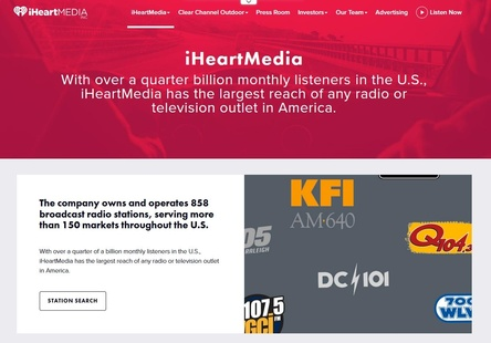 Hat ein Gläubigerschutzverfahren nach Chapter 11 beantragt: der US-Radiokonzern iHeartMedia (Bild: iheartmedia.com, Screenshot)
