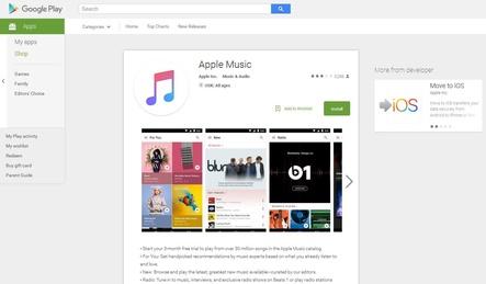 musikwoche news apple music nun auch f r android verf gbar. Black Bedroom Furniture Sets. Home Design Ideas