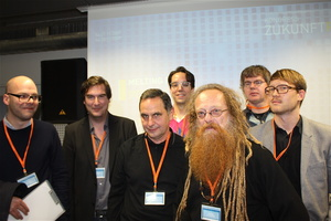 Journalisten unter sich: Dirk Peitz, Andreas Borcholte, Uli Frank, Dirk Rothenbücher, Ossi Urchs, Dietmar Schwenger, Thomas Venker (von links) (Bild: MuskWoche)