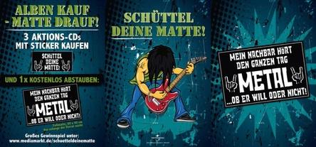 """""""Schüttel Deine Matte"""": Das Vertriebsteam von Universal Music bewirbt die laufende Kampagne unter anderem mit Postern am PoS (Bild: Universal Music)"""