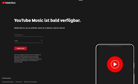 Soll bald auch in den deutschsprachigen Märkten verfügbar sein: das neu positionierte Angebot YouTube Music ... (Bild: music.youtube.com/coming-soon, Screenshot)