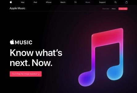 Soll die Zahl der Abonnenten im Vorjahresvergleich um 75 Prozent gesteigert haben: der Streamingdienst Apple Music (Bild: apple.com/apple-music, Screenshot)