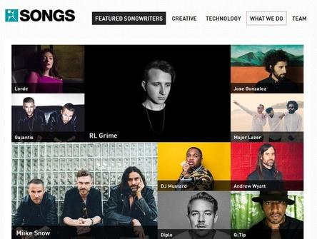 Spekulationsobjekt: Songs Music Publishing zählt auf seinen Onlineseiten Künstler wie Lorde, The Weeknd oder Diplo zum Autorenstamm (Bild: songspub.com, Screenshot)