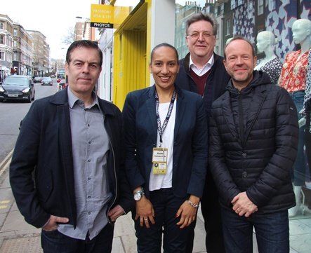 Stellten die Verti Music Hall vor (von links): Paul Cheetham, Aissata Hartmann, Uwe Frommhold und Michael Hapka (alle AEG) (Bild: MusikWoche)