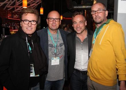 Trafen sich 2015 beim DJ Meeting @ Reeperbahn Festival: Bernd Dopp (Warner Music Central Europe), Michi Pohl (Kontor Media), Jens Thele (Kontor Records) und Jörg Böhm (Plattenmann.de) (Bild: MusikWoche)