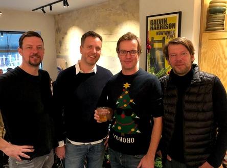 """Trafen sich am Nikolaus-Tag (von links): Andre """"Brix"""" Buchmann (Universal/Bitstream), Jobst Neermann (KBK Konzertagentur), Michael Frohoff (Kruger Media) und Jürgen Schepers (IHK Berlin) (Bild: Kruger Media)"""