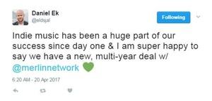 Twittert, wie zufrieden er über die Einigung ist: Daniel Ek von Spotify (Bild: Screenshot Twitter)