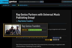 Will sein Angebot an Songtexten offenbar rechtlich unangreifbar machen: das Gründerteam von Rap Genius (Bild: rapgenius.com, Screenshot)