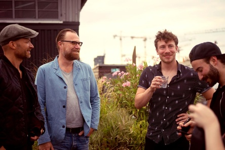 Wollen sich besser vernetzen (von links): Ingo Heinzmann (UMPG), Markus Wenzel (UMPG), Dominik Trampf (Studio nhow) und Iad Aslan (Autor & Produzent) (Bild: Fidelis Fuchs)