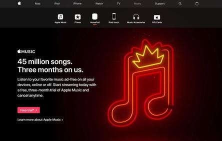 Zahlenspiele: Apple Music kommt inzwischen weltweit auf 36 Millionen zahlende Kunden und soll im US-Markt bereits die Nase vor Spotify haben, wenn man die Nutzer mit einrechnet, die den Streamingdienst derzeit im Probeabo testen. Hier komme Apple Music auf das Drei- bis Vierfache dessen, was Spotify an laufenden Testabos vorzuweisen habe. Allerdings gewährt Apple Music seinen Nutzern auch weiterhin eine dreimonatige Probephase, und liegt somit auch hier um das Dreifache über den bei den Wettbewerbern zumeist üblichen 30 Tagen (Bild: apple.com, Screenshot)